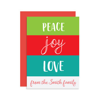 PERSONALIZED Peace Joy Love From Our Family - Christmas Holiday Seasonal Card Gift - Modern Cute Classic Fun 5x7
