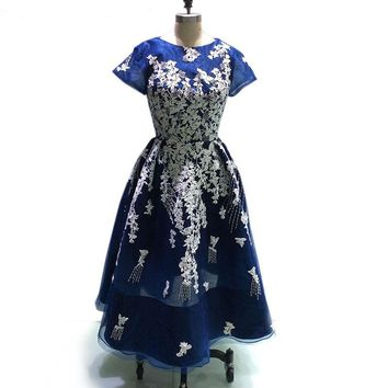 Short Sleeve Evening Dresses Lace Embroidery Prom Dress Navy Blue Tulle A-line Party Gowns