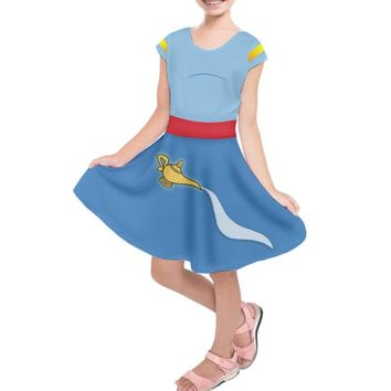 Kid's Genie Aladdin Inspired Short Sleeve Dress