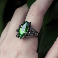 VERIDIAN. Dark Foliage Green Crystal Ring – REGALROSE