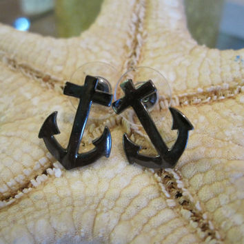 Hematite Anchor Earrings - Earrings - Anchor Earrings