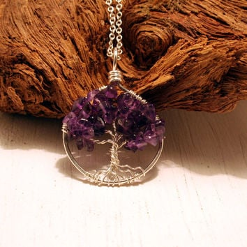 Petite Sterling Silver Tree Of Life Amethyst Necklace On Sterling Chain Wire Wrapped Pendant Jewelry February Birthstone - Birthstone Series