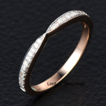 Pave Diamond Wedding Band Half Eternity Anniversary Ring 14K Rose Gold Unique Symmetrical