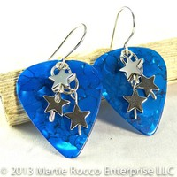 Bright Blue mosaic Guitar Pick earrings with hematite star dangles