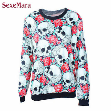 SexeMara Winter 2016 Many Skull And Rose Digital 3D Sweatshirt Comfortable Sudaderas Harajuku Lady Sports Popular Pullover Y044