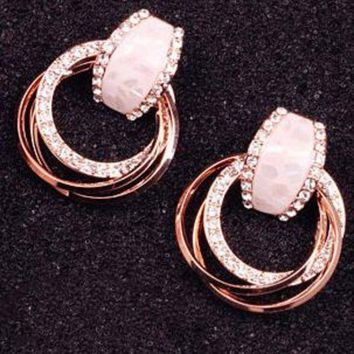 ac NOVQ2A Anti - allergy South Korea simple shell water drill circle ring big earring earrings women vintage fashion fashionable celebrities earrings.