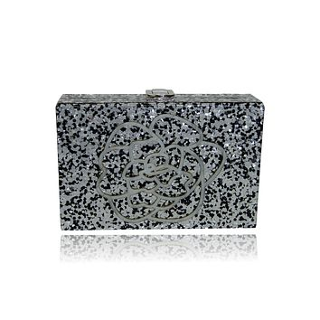 Sultana Black and Silver Glitter Acrylic Box Clutch