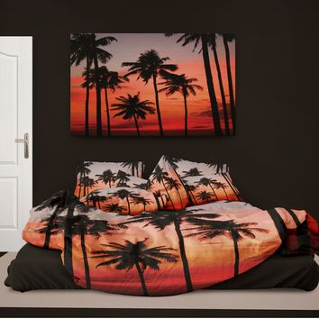 Surfer Bedding Palm Trees at Sunset Eco Friendly Beach Comforter