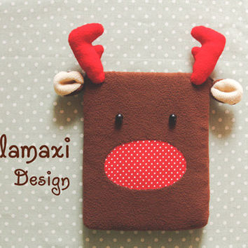 Handmade Reindeer iPad Cover, Cute Reindeer Kindle Case, Cute Fleece Reindeer Kindle Sleeve Cover, Custom iPad Cover, Kawaii iPad Case