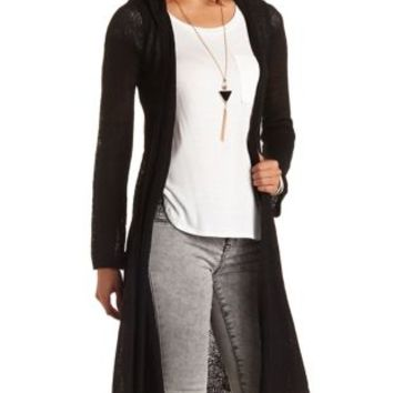 Hooded Duster Cardigan Sweater by Charlotte Russe - Black
