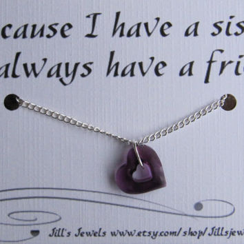 Sister Love Swarovski Heart Crystal Friendship Quote Inspirational Card - Sister - Best Friend - Love Quote - Quote Gift