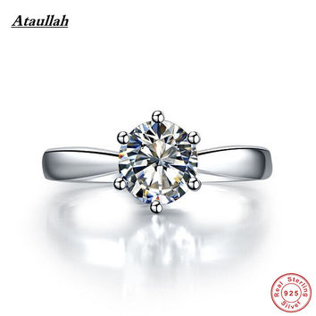 Ataullah Silver Big 3 Carat  Ring! 925 Sterling Silver Sona/NSCD Women Diamond Ring Engagement Rings Girl Wedding Rings RWD001-8