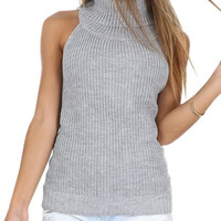 Women Tanks Top Sexy Backless Sleeveless Sweater Woolen Turtle Neck Sexy Knitting Halter  Solid Tops Fitness Camisole Tops M0438
