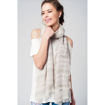 Grey lightweight scarf with glitter details and fringed ends