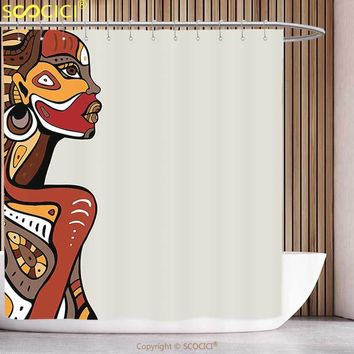 Waterproof Shower Curtain African Decorations Profile of Sexy African Lady with Different Tattoos on Her Body and Face Stylish