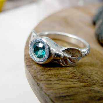 Turquoise Colored Topaz Ring in Silver with Leaf Detail