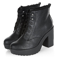 WIde Fit Black Shearling Lined Lace Up Boots