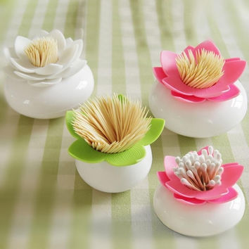 Hoomall Creative Lotus Cotton Swab Box Cotton Bud Holder Case Home Decorate Toothpicks Holder Storage Box Organizer 8cm