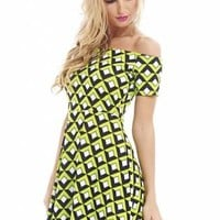 Printed Off The Shoulder Skater Dress