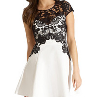 Black and White Lace Crochet Short Sleeve Ruched Skater Dress