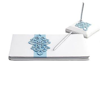 White Satin Wedding Guest Book and Pen Set with Teal Scroll Design