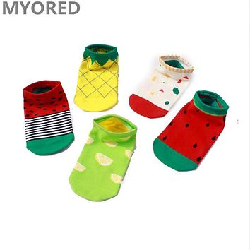 MYORED 5pairs/1 Lot women cartoon cotton sock slippers female lady girls candy colored fruit watermelon ankle sock invisible