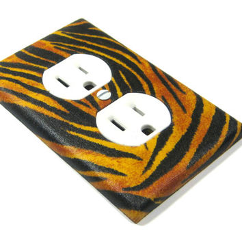 Black and Orange Tiger Print Outlet Cover Electrical Outlet Animal Stripes Tiger Print LAST ONE 1298