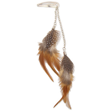 Brown Feather Dangle Hair Clip
