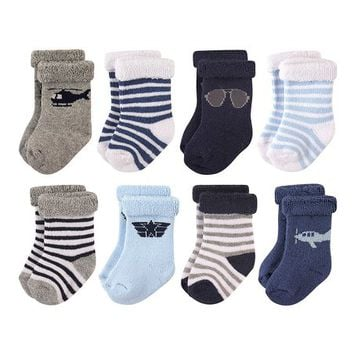 Hudson Baby Aviator Rolled-Cuff Eight-Pair Crew Socks Set