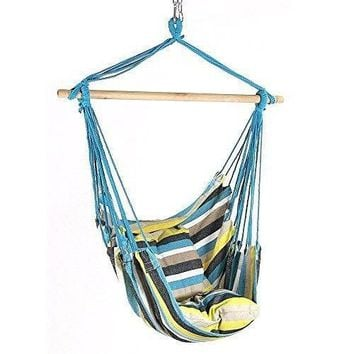 Hanging Hammock Chair Swing Garden Porch Chair 2 Seat Beach Swing Chair Cushions