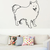 American Eskimo Dog Vinyl Decals Wall Sticker Art Design Living Room Modern Bedroom Nice Picture Home Decor Hall  Interior ki946