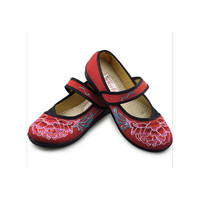 Vintage Embroidered Flat Ballet Ballerina Cotton Mary Jane Chinese Shoes for Women in Gorgeous Red Floral Design