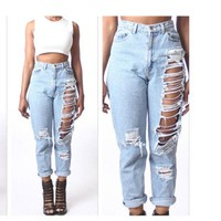 Jeans Hot Sale Ripped Holes Pants Cropped Pants [45271875609]