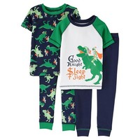 Just One You™ Made by Carter's® Toddler Boys' 4-Piece Good Knight/Dinosaur Pajama Set Green