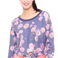 Long Sleeve Floral French Terry Crop Sweatshirt with Tie Front