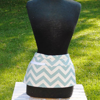 Vendor Apron Server Apron Travel Apron Chevron Aqua Beige Twill