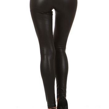Sexy Low Waist Faux Leather Slim Fit Ankle Skinny Leggings Pants Tights