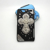 Handmade hard case for Motorola Droid Razr Maxx: Bling diamond cross (customized are welcome)