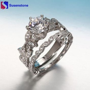 SUSENSTONE Unique Tree Leaf Design For Women Jewelry White crystal Wedding Engagement 2 pcs Ring Set weeding rings for women #40