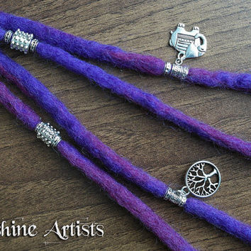 Purple wool dreads, clip in dreadlocks, merino wool dreads - Tibetan silver elephant and tree of life charms, dread beads and spacer beads