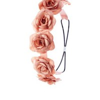 Velvety Rose Flower Crown Head Wrap by Charlotte Russe