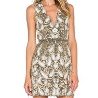 Alice + Olivia Jania Embellished Dress in Gold & Cream