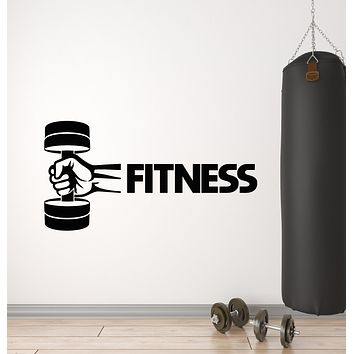 Vinyl Wall Decal Iron Sport Bodybuilding Barbell Fitness Club Stickers Mural (g802)