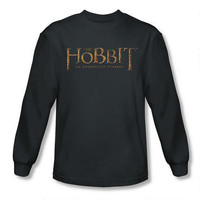 The Hobbit: An Unexpected Journey Logo Adult Long Sleeve Charcoal Tee |