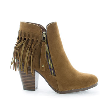 Gail26 Tan F-Suede by Breckelle's, Tan Suede Cowgirl Back Fringe Zip Up Chunky Stacked Heel Ankle Boots