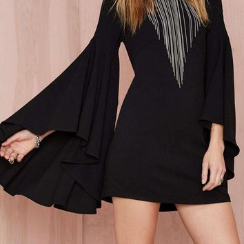 Black Plain Draped Round Neck Flare Sleeve Slim Bodycon Homecoming Mini Dress