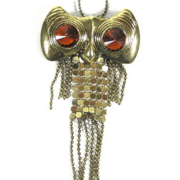 Chain Mesh Fringe Owl Necklace Vintage Retro Gold Tone NJ55 Crystal Charm Pendant Fashion Jewelry