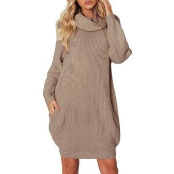 Dress Women vestidos Ladies winter Sexy Dress Knitted Turtleneck Long Sleeve Loose Pocket Sweater Pullover Dress
