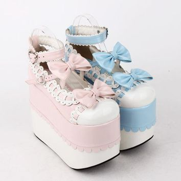 Plus Size female spring anime cosplay lolita shoes women Wedges Sandals high heels lea