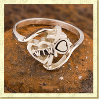 Worth The Wait Cross Heart Key Stainless Steel Purity Ring